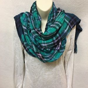 Accessories - Tye-dye multi colored scarf with fringes.A4